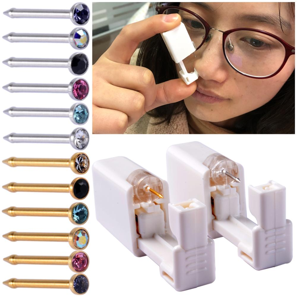 Disposable Safe Sterile Piercing Unit For Nose Studs Piercing Gun Piercer Tool with Replacement Nose