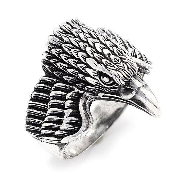 مع هوك عزر حلقة الحيوان خاتم فضة الطيور الرجال حلقة النسر رجالي مجوهرات الذكرى هدايا عيد الرجال للهدايا