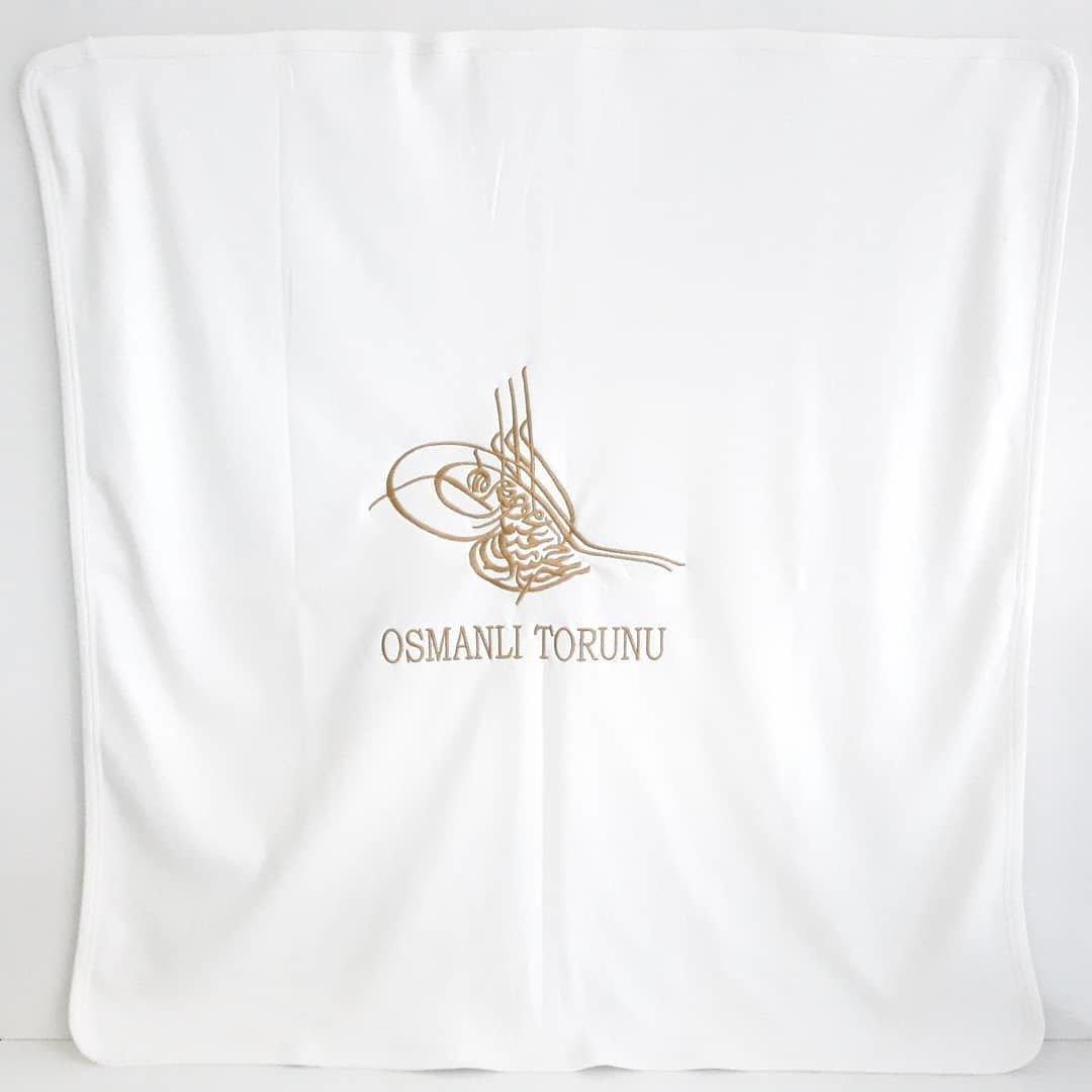 Manta de bebé de algodón peinado de doble capa bordada otomana dorada