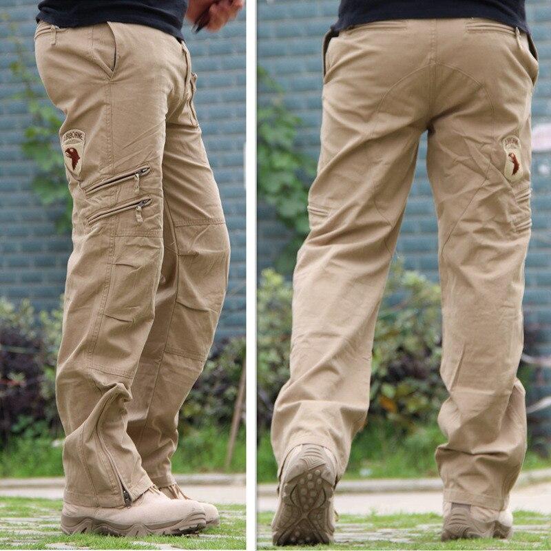 Мужские хлопковые боевые брюки, черные камуфляжные брюки с несколькими карманами, мужские джоггеры, армейские военные тактические брюки в ...