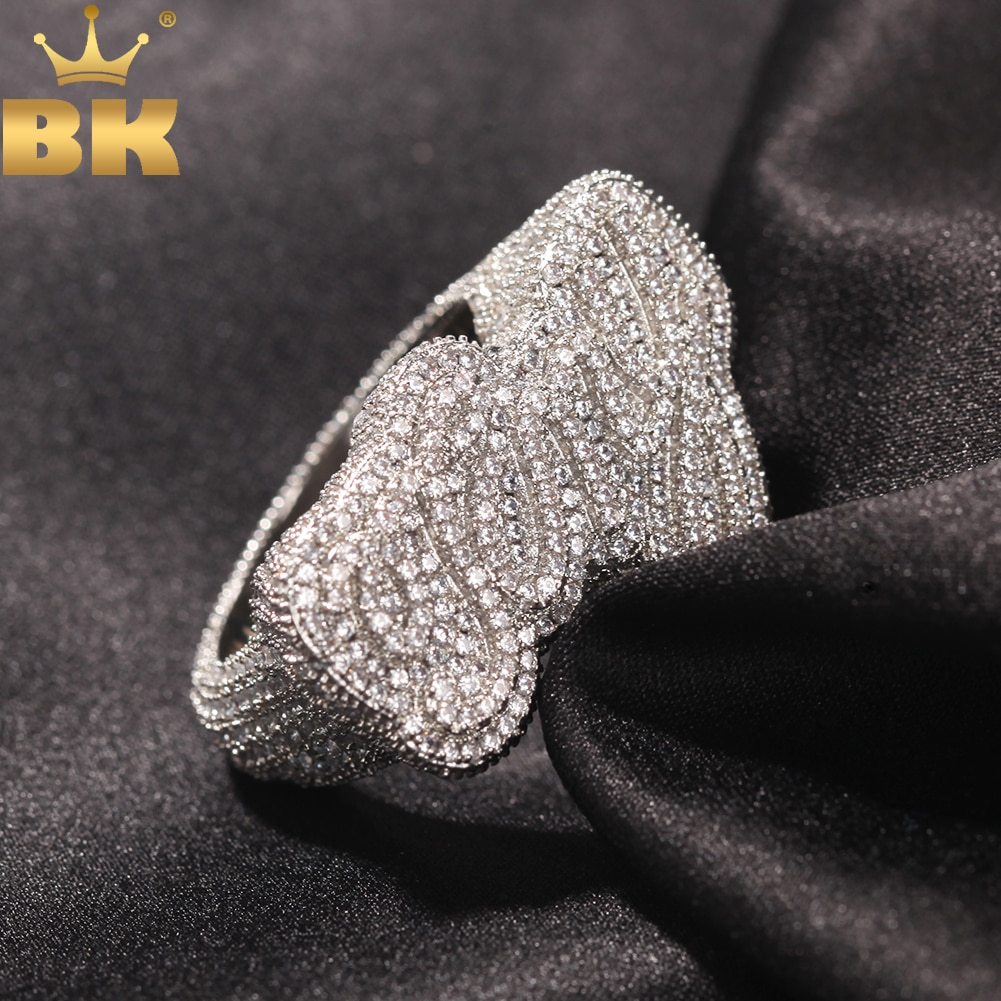 THE BLING KING Personalize Script Bubble Letter Ring Full Iced Out Bling CZ Name Party Custom Rings Hiphop Jewelry For Men