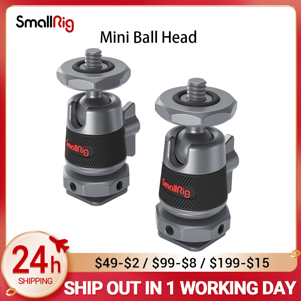 smallrig cool ball head v1 multi function double ball head with shoe mount SmallRig 1/2 pcs Mini Ball Head with Removable Cold Shoe Mount Mounts Monitor lights & video accessories to the camera 2948/2795