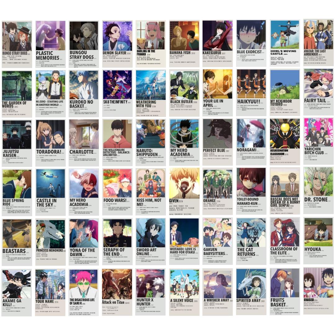 Аниме плакаты, аниме настенный коллаж в комплекте, эстетические принты манги, комнатный Настенный декор для любителей аниме, идеальный пода...