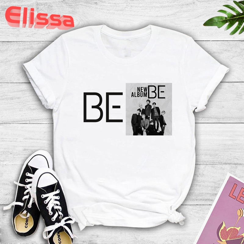AliExpress - 2021 new album BE print Harajuku T-shirt casual hip-hop short sleeve top Kpop Korean style short sleeve cute Korean