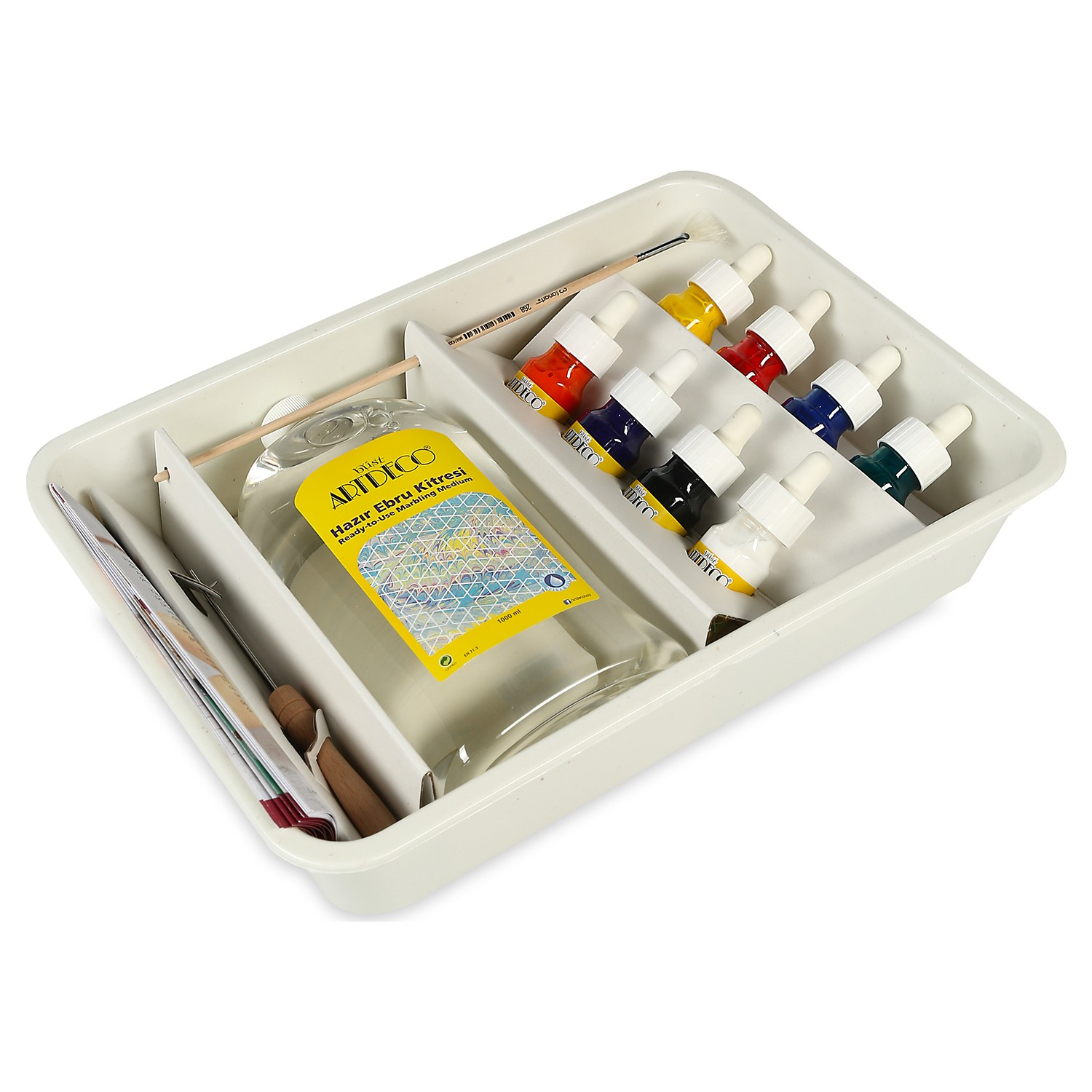 Artdeco Marbling Art Starter Set 8 Color Everything You Need For Marbling in This Box Brush 1 Piece Paint 30 ml 8 Colors