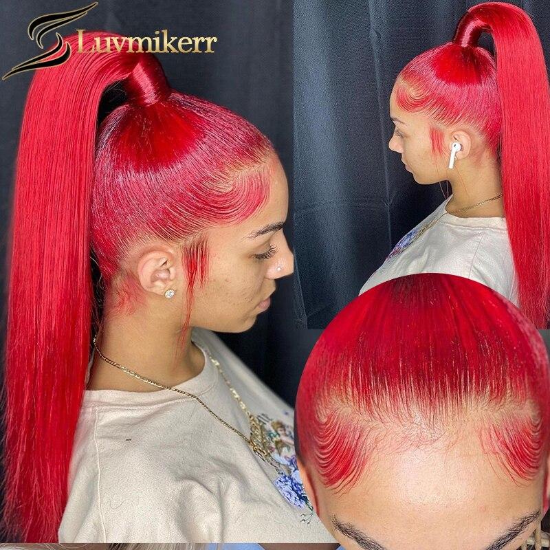 cor vermelha reta 13x4 laco frontal peruca de cabelo humano hd transparente tuleful