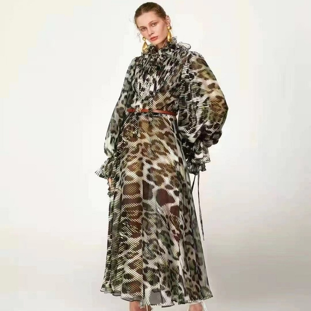 ماركة كبيرة الأورجانزا ثلاثية الأبعاد ليوبارد طباعة ملابس نسائية عادية ضيق المناسب طويل dress2021New السيدات الصيف عالية الجودة توتو تنورة