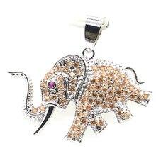 33x31mm Gorgeous Elephant Shape Created Golden Citrine Tourmaline Woman's Present Silver Pendant