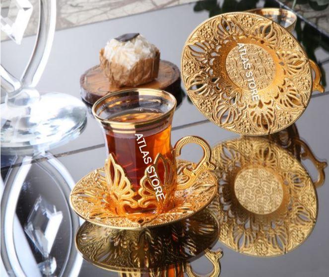 الشاي التركي نمط الذهب ستة شخصية ثمانية عشر قطعة طقم شاي