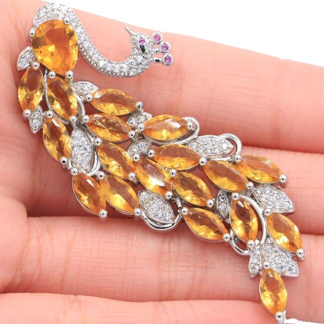 61x26mm SheCrown Big Heavy 13.6g Phoenix Created Golden Citrine Pink Tourmaline Wedding Silver Brooch