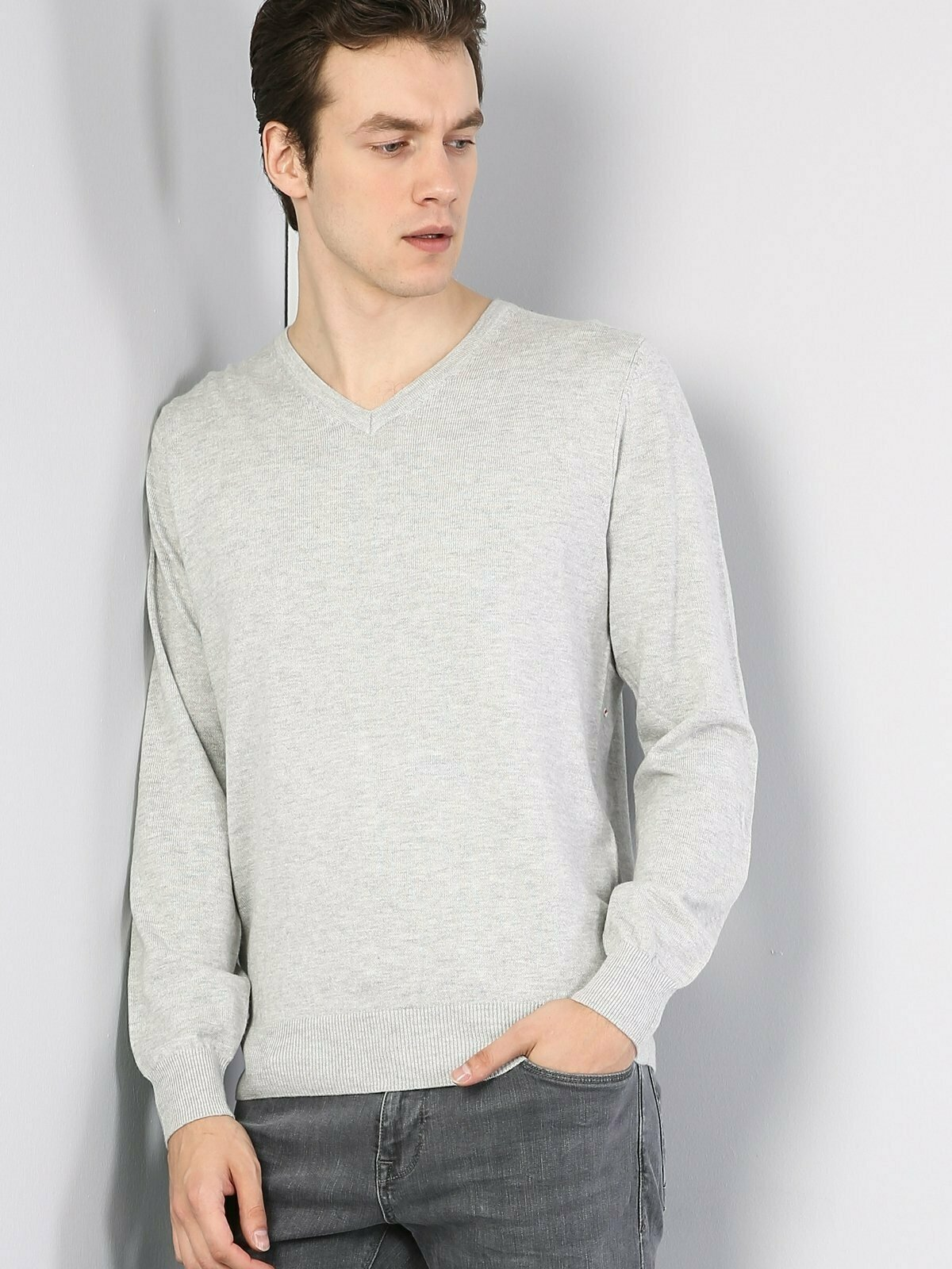 Colins Men Regular Fit Grey Heather SweatersMen's sweater fashion sweater outerwear,CL1023230
