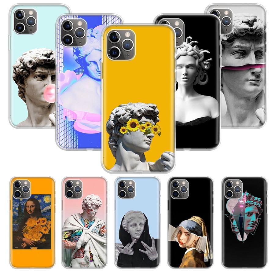 Linhas de arte abstrata david caso de arte estética para apple iphone 11 12 mini pro xs max xr x 7 8 6s mais 5 5S se 10 dez presente silicone