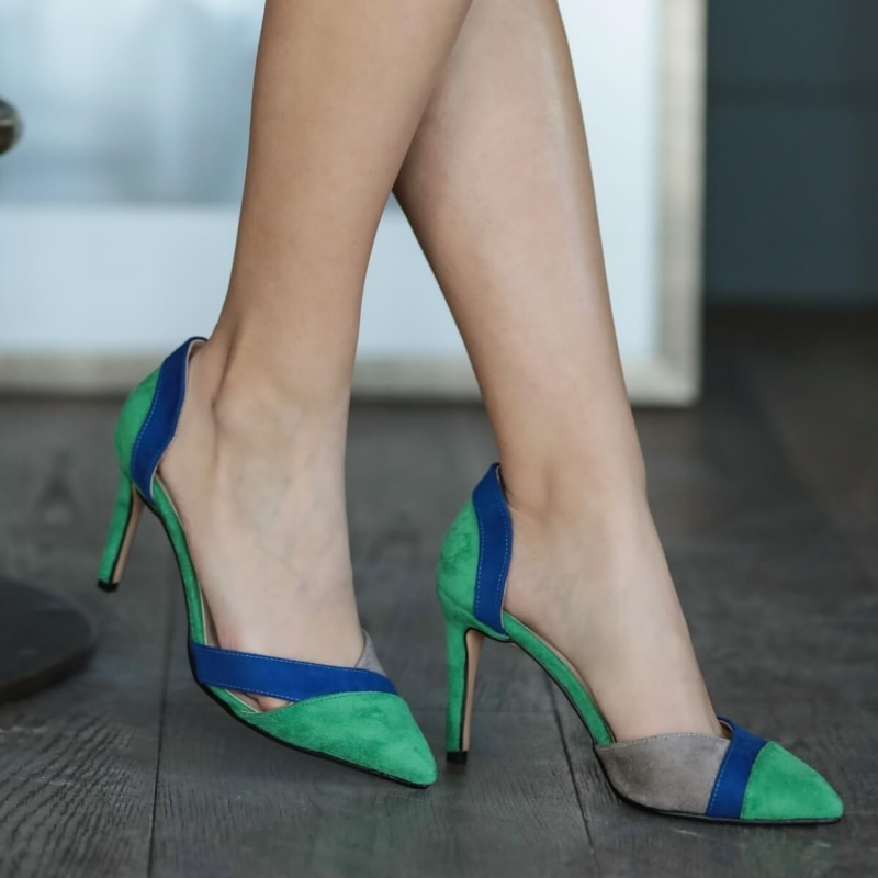 Anita Green Block Heels Shoes Stiletto Women Shoes Zapato de Mujer Tacon Shoes Woman Thin Heels Pointy Shallow Pumps