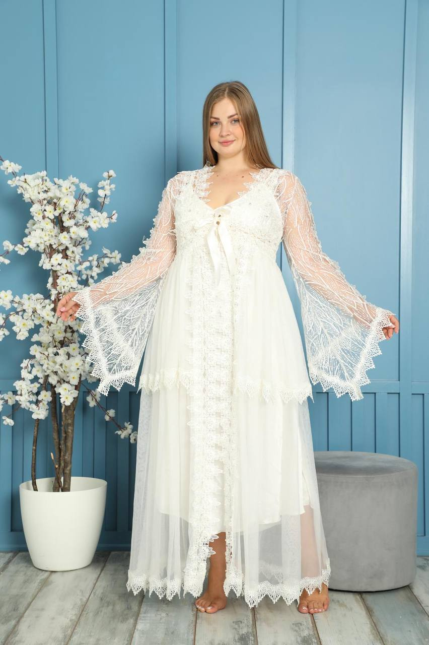 Women's nightgown dressing gown set white underwear luxury big size lace long sexy home casual sleeping bed wedding dowry gift