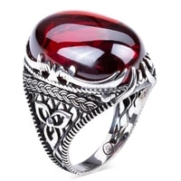 925 sterling red zircon stone sword figured silver mens ring fashion turkish premium quality handmade jawelery