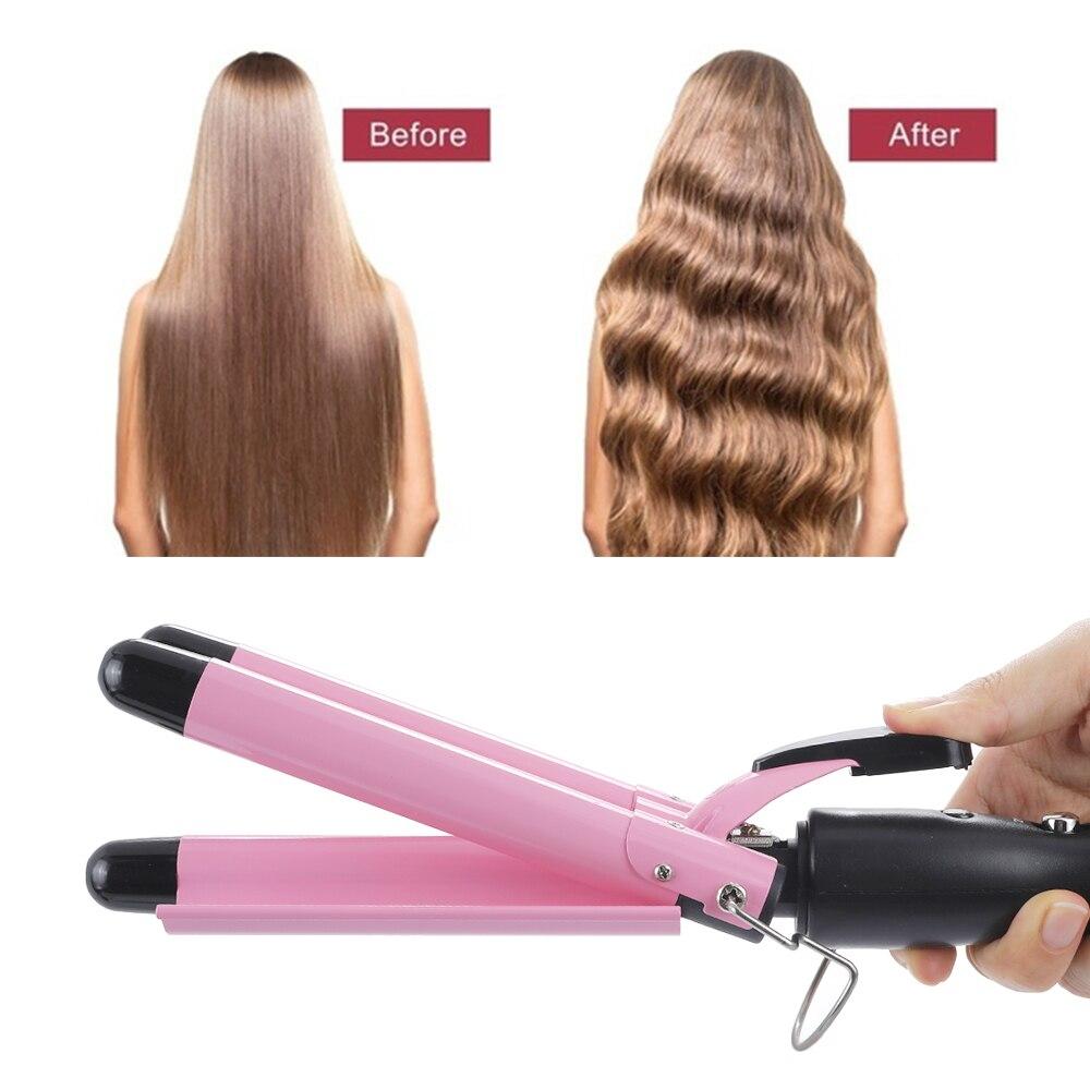 Rizador de pelo eléctrico de Triple barril, ondulador de pelo, herramientas de estilo de calentamiento rápido, rizadores de cabello con ondas grandes, dispositivo de rizos