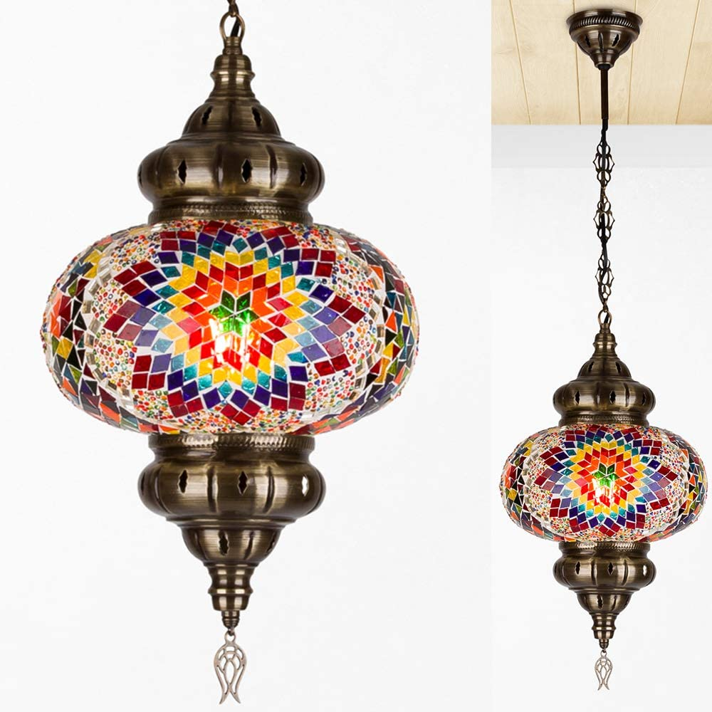 Turkish Moroccan Crystal Glass Stained Ceiling Hanging Light Lamp Lantern Boho Pendant Chandelier for Bedroom Decor - 10 inch (D