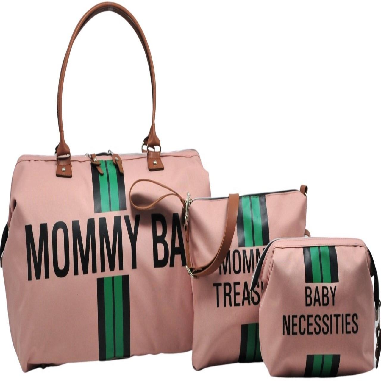 Mommy Bag Design 3 Piece Set Powder - Green Stripe Baby Mommy Baby Care And Women Bag children mini handbag shoulder bag