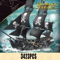 new moc large pirate ship the black pearl model bricks diy classic movie scene boat building blocks christmas toys for kid gifts