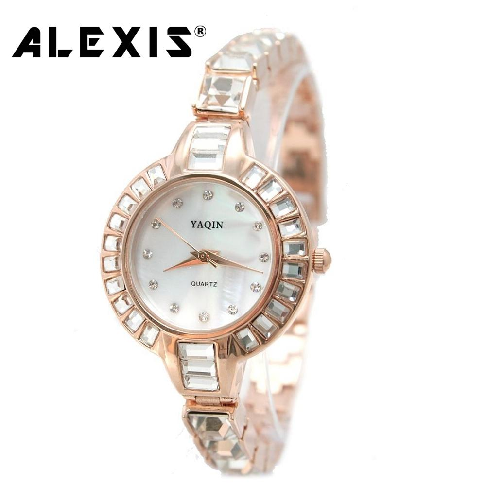 Generous beauty New Round Rose Gold Tone Silver Watchcase White Dial Ladies Women Bling Bracelet Watch enlarge