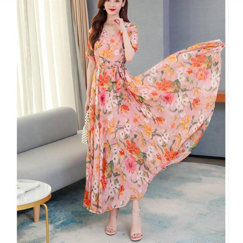 Chiffon dress 2020 new summer fashion temperament V-neck waist was thin long section was thin Bohemian beach dress