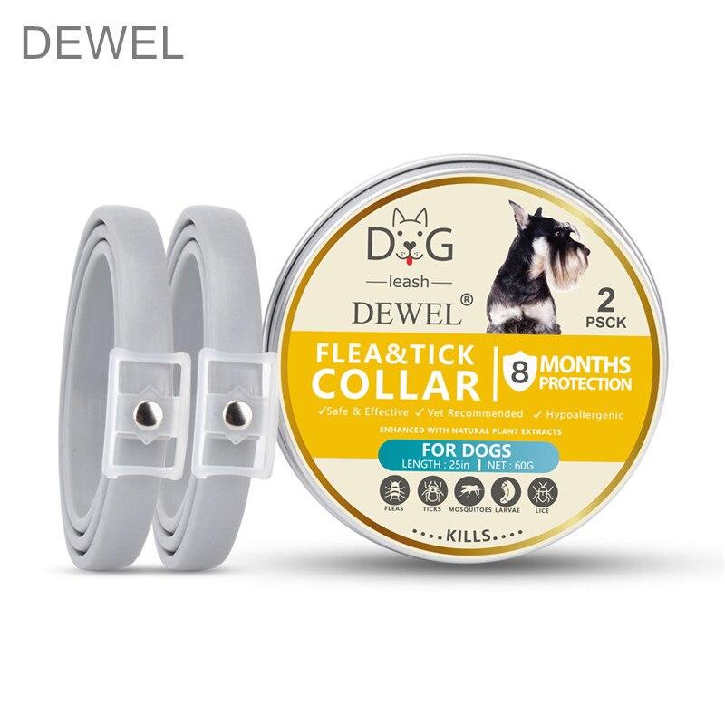 Dewel 2 pçs gato & cachorro colar anti pulga mosquitos carrapatos inseto 8 meses proteção à prova dwaterproof água natural herbal pet collar