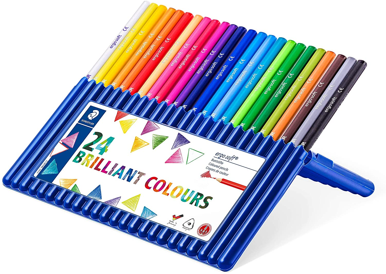 Цветные карандаши Staedtler Ergosoft, набор из 24 цветов, чехол-подставка