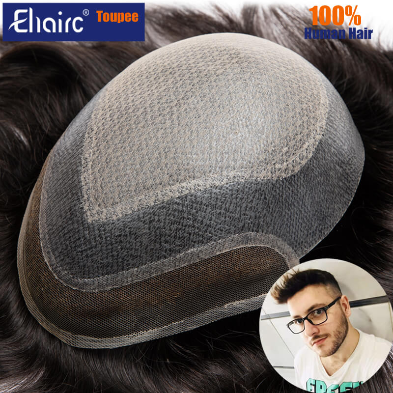 Toupee men Lace & Skin Base Male Hair Prosthesis Wig For Men Diamond Lace Top 100% Natural Human Hair Wig For Man Blenched Front