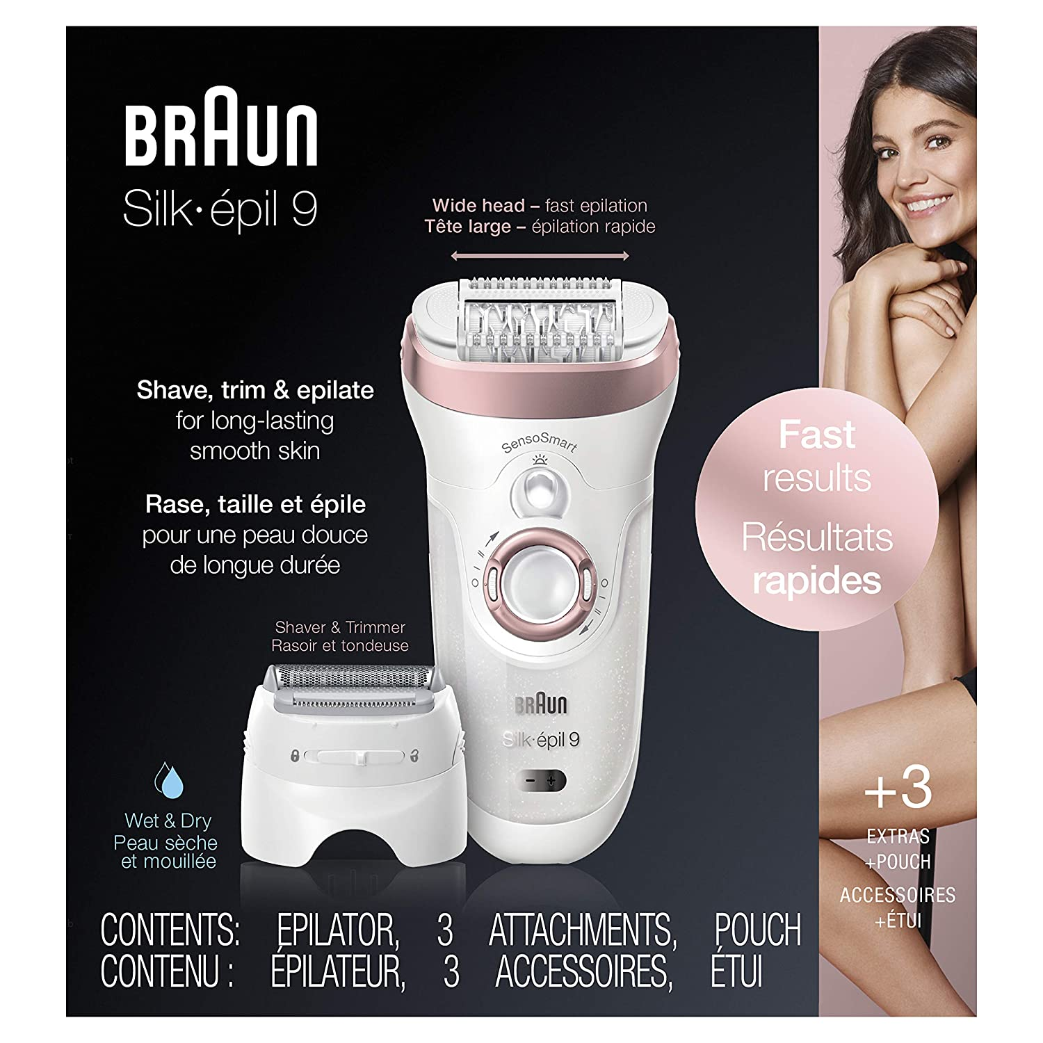 Braun Epilator Silk-épil 9 9-720, Facial Hair Removal for Women, Wet & Dry, Womens Shaver & Trimmer, Cordless, Rechargeable enlarge