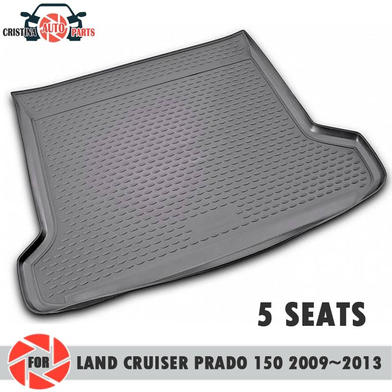 Trunk mat for Toyota Land Cruiser Prado 150 2009-2013 5 SEATS trunk floor rugs non slip polyurethane dirt trunk car styling