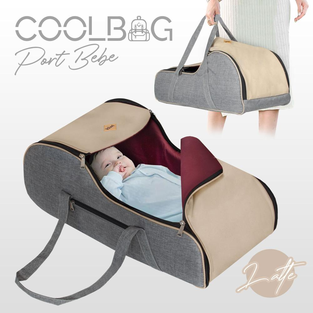 Jaju Baby Kiwi Coolbag Waterproof Imported Fabric Carry Cot - Latte