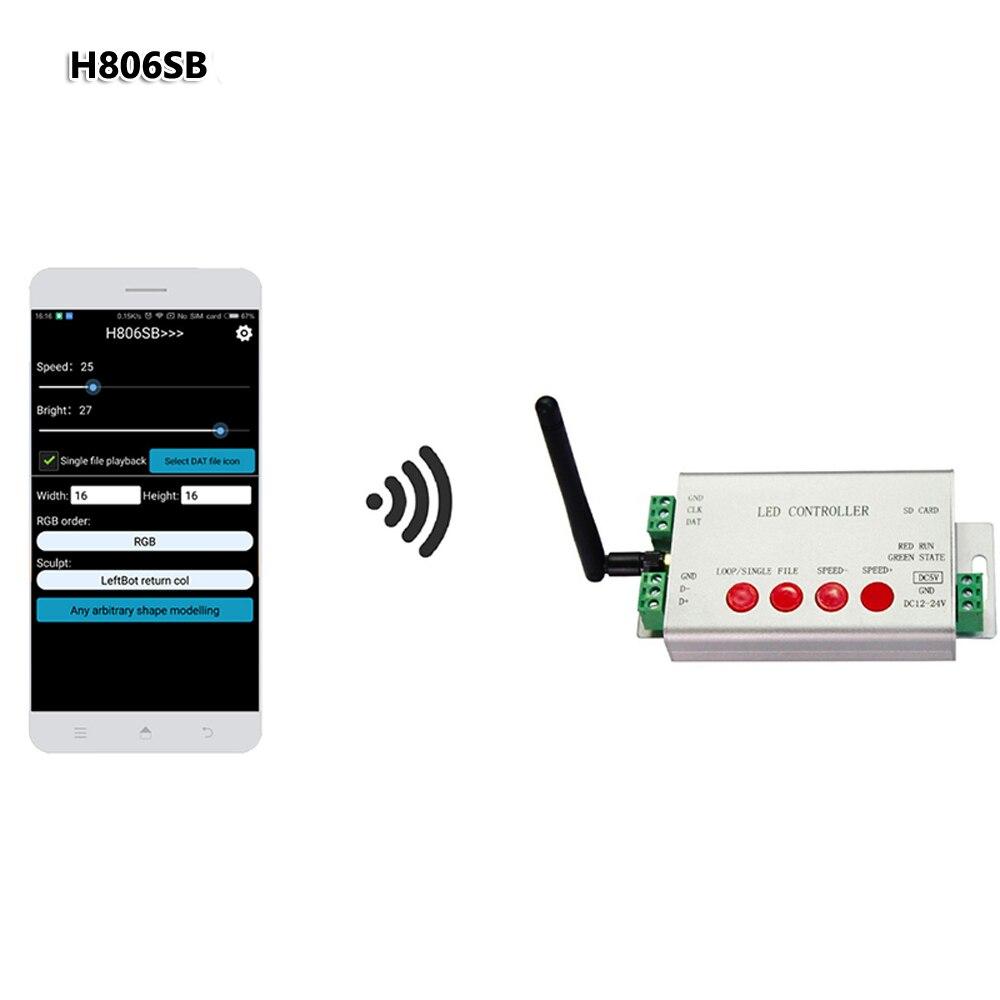 H806sb led controlador de cartão sd wifi spi controlador DC5-24V wifi controlador por aplicativo max 2048 pixels ws2811 luzes tira digital