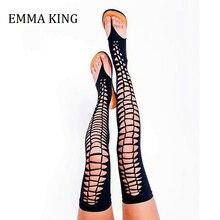 Femmes noir plat gladiateur sandales Vegan sur le genou sandales été évider femme femme chaussures loisirs sandales bottes plates