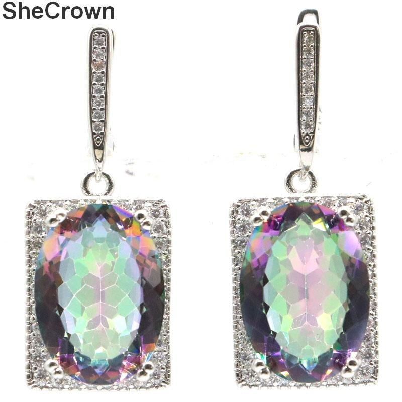 36x15mm Luxury 18x13mm Created Fire Rainbow Mystic Topaz White CZ Woman's Wedding Silver Earrings