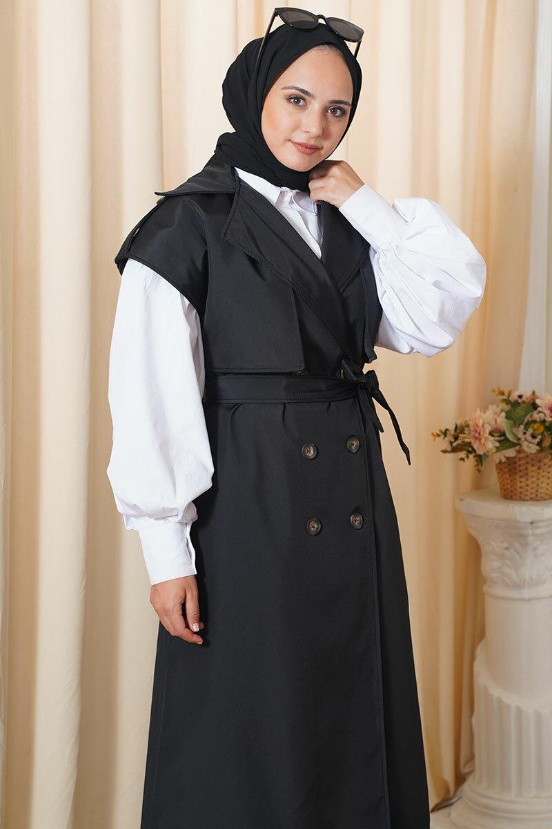 Epaulette سترة مربوطة معطف خندق تركيا مسلم موضة ملابس الإسلام دبي istanbulstyle اسطنبول شتاء 2021