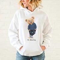 solid color plus size hoodie street fashion teddy bear pattern casual sweatshirt men women cotton warm hoodie harajuku s 5xl
