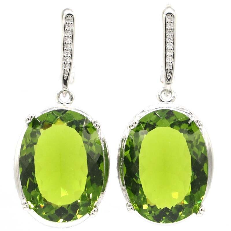 40x17mm Jewelry Set Delicate Fine Cut  Big Oval 20x15mm 14.7g Created Green Peridot CZ For Women Silver Earrings Pendant