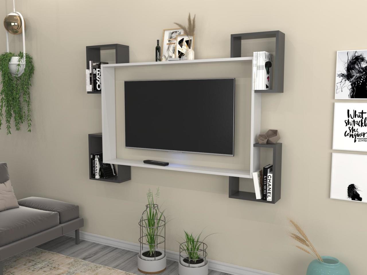 Home Furniture Tv Furniture TV Table TV Cabinet Wall TV Unit Trendsetter Bookcase Shelf Wall Tv Unit White Anthracite