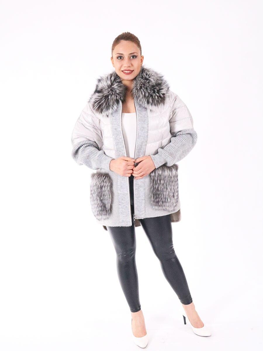Fashion Alpaca jacket, natural fox fur real fox fur jacket warm Jacket 2021 Turkish Moda