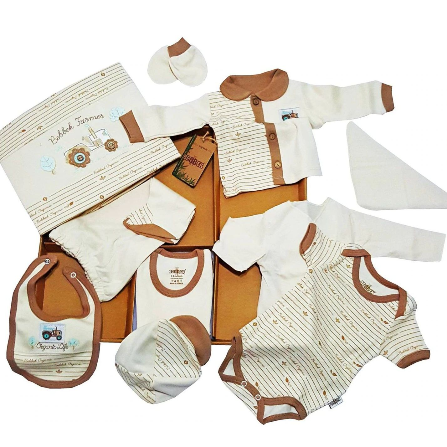 10 Piece Organic Licensed Baby Hospital Outlet Newborn Outfit Set is sweaty and flexible % 100 pamuk ipliği