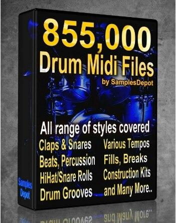 855.000 Paquete de batería Midi colección 2021 FL Studio razón Ableton Cubase...