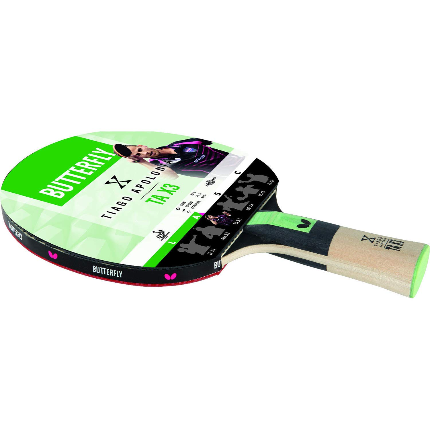 Butterfly 85082S Tiago Apolania TA X3 ITTF Approved Table Tennis Racket