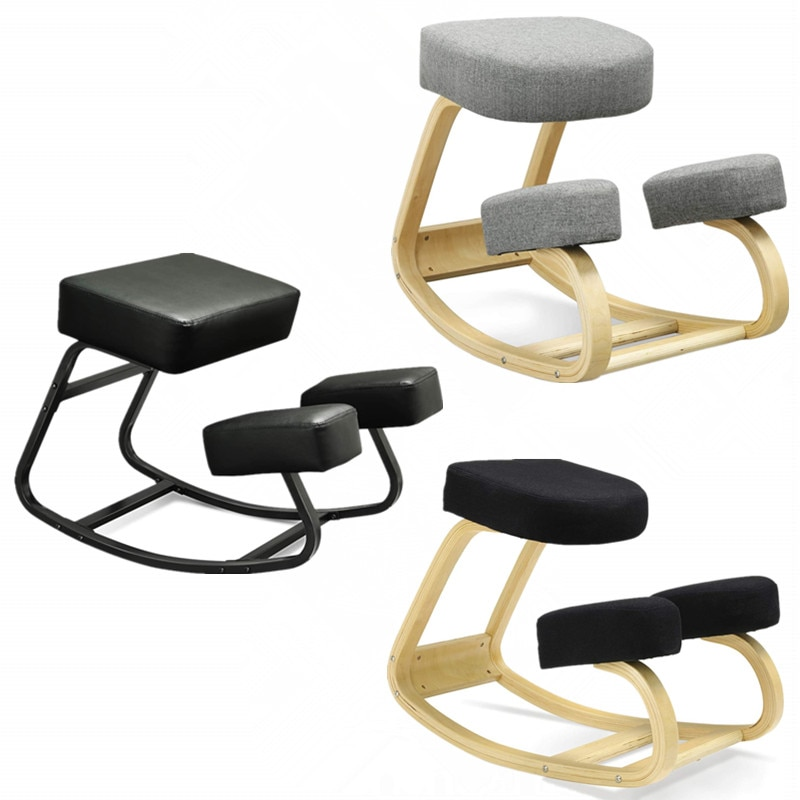 Rocking Wood Kneel Stool Ergonomic Kneeling Chair with Thick Cushion for Improving Posture Relieve Knee Pressure