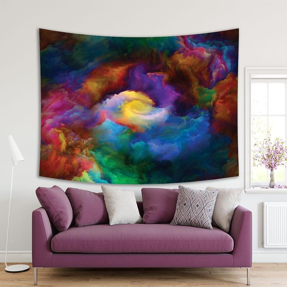 Tapiz colorido con ilustraciones de Patrón En Espiral, Volcán abstracto, montañas, naturaleza, pintura vibrante, Color amarillo, rojo, azul, verde