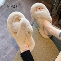 2021 spring shoes fur women slippers short plush flat heel outdoor sweet warm fashion fur slides big size 40
