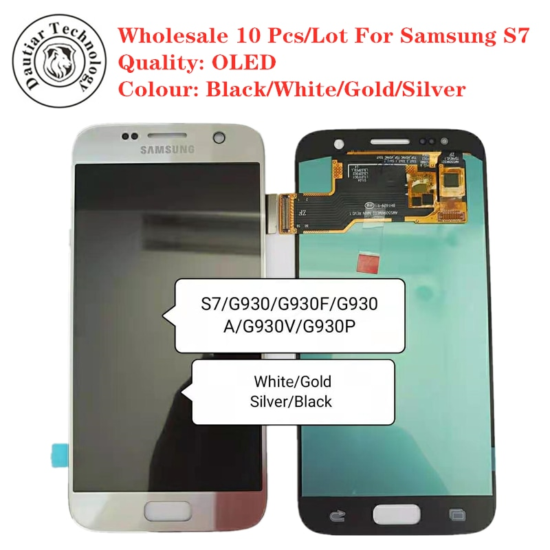 S7 G930 OLED Schwarz Großhandel 10 Teile/los Für Samsung S7 G930 G930F G930A G930V G930P LCD Display Touchscreen Digitizer montage