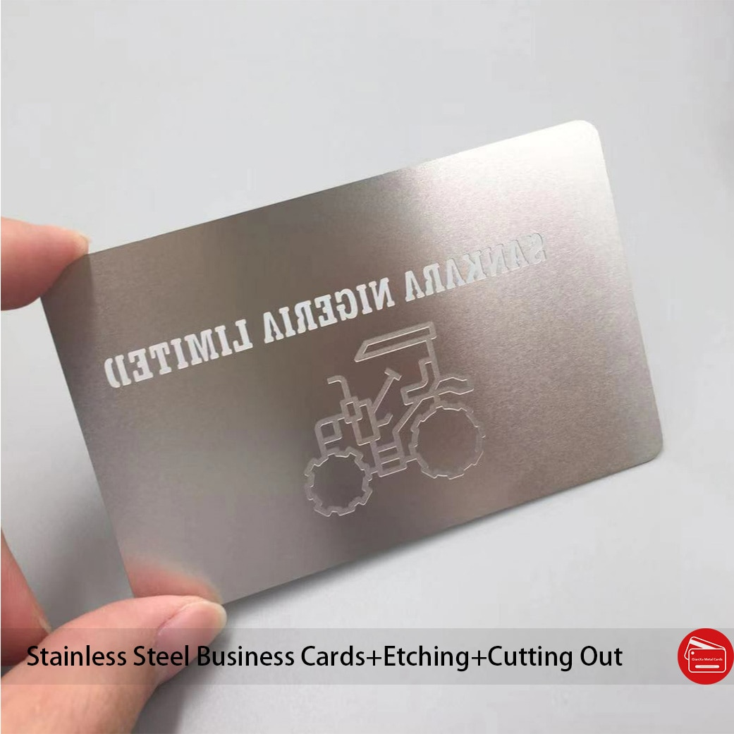 Stainless steel etching engraved metal business card metal stainless steel business card supplier
