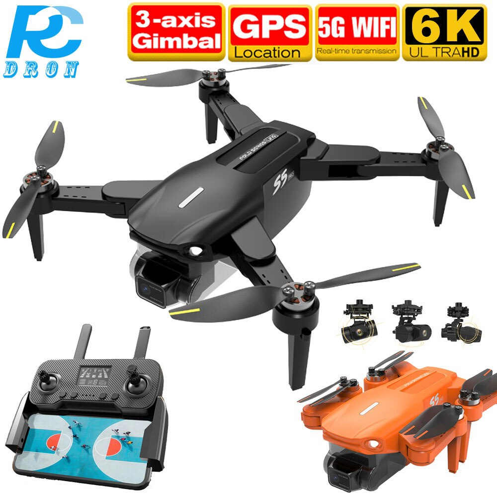 S5PRO RC DRON Camera 6K GPS Professional 1.2KM Long Distance Three Axis Gimbal Camera Quadcopter Drone Brushless PK M1