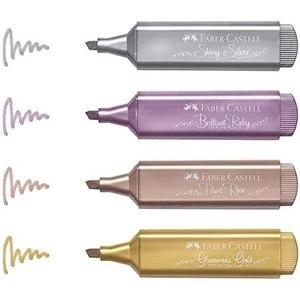 4pcs Faber Castell Metallic Glossy Textliner Original Highlighter 4 Color Set Glossy Marker Writing Art Pen  FREE SHİPPİNG