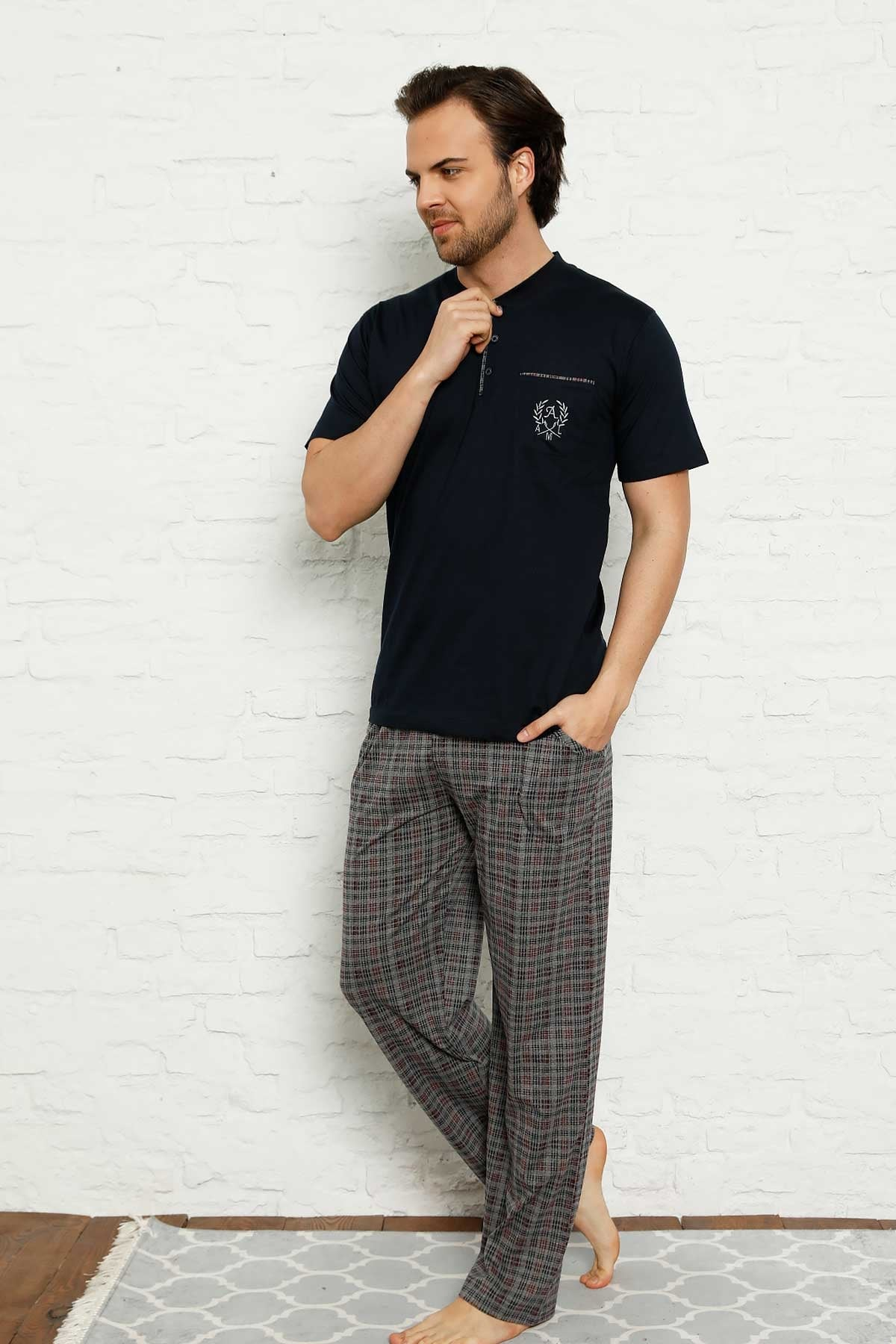 New Summer Spring Men 'S Pajamas Sets Short Sleeve Pockets 2 Color Sleepwear Pajamas Suit Homewear Overnight Dressing Gown